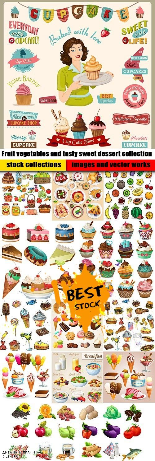 Fruit vegetables and tasty sweet dessert collection