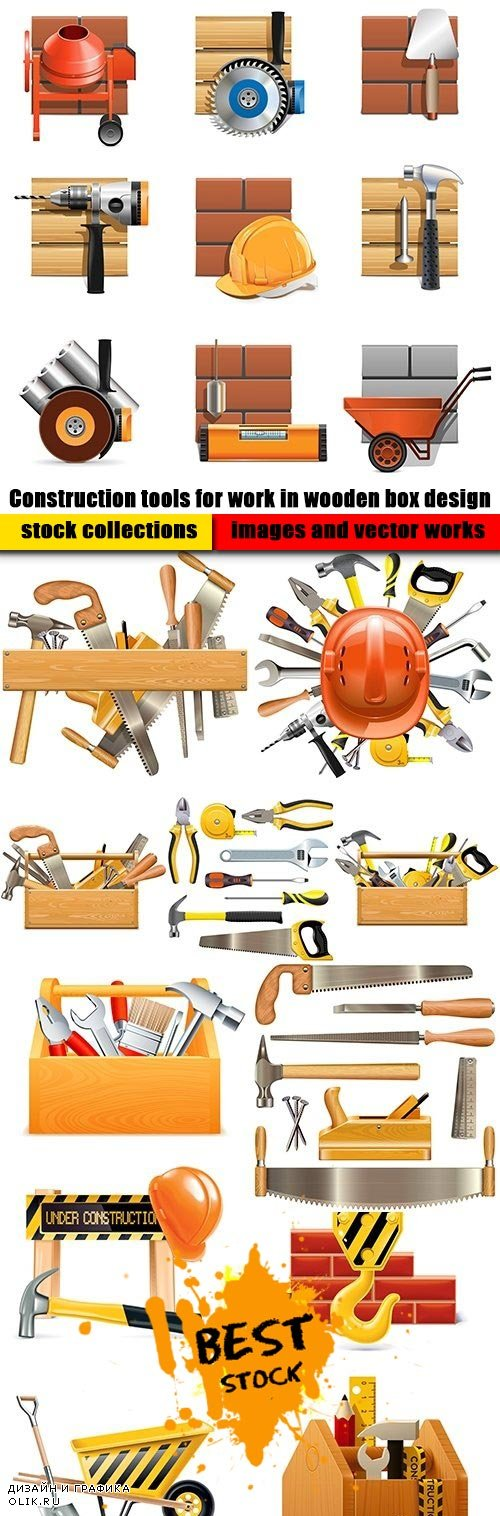 Construction tools for work in wooden box design