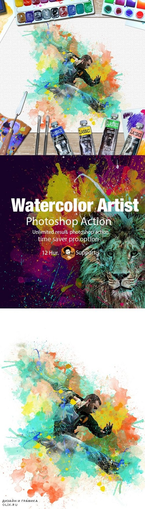 Watercolor Artist PHSP Action 20027897