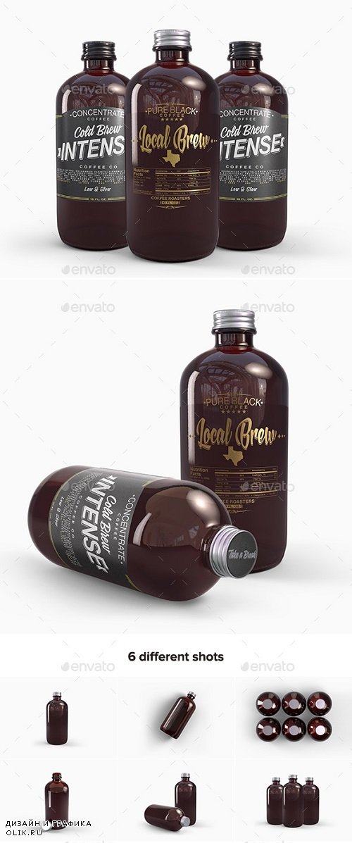 Cold Brew Coffee Amber Glass Bottle Mockup - 19865298