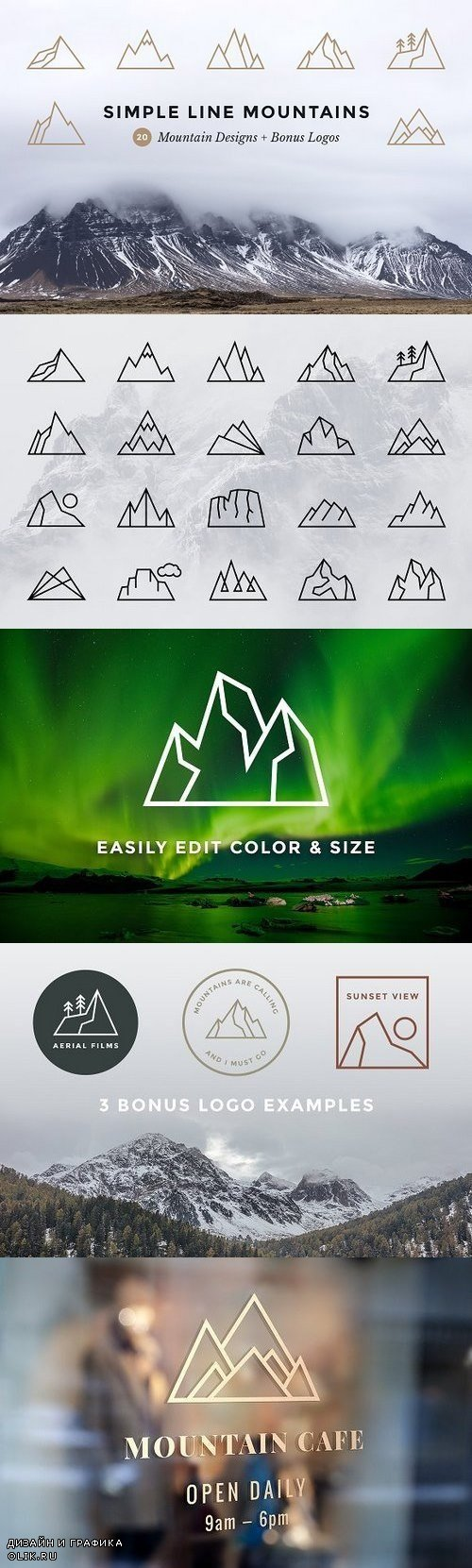 Simple Line Mountains + Bonus Logos 1250618