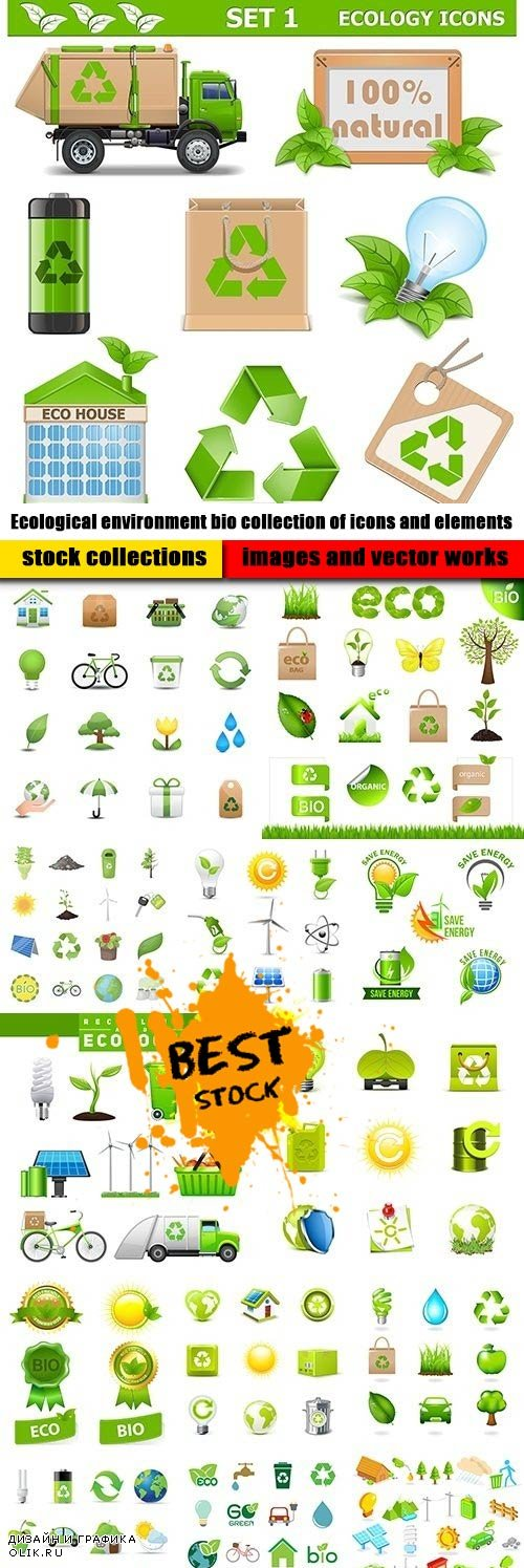 Ecological environment bio collection of icons and elements