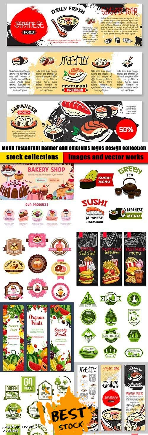 Menu restaurant banner and emblems logos design collection
