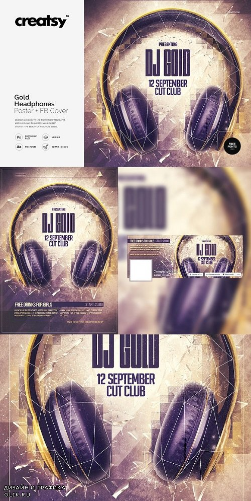 Gold Headphones Poster + FB Cover 1632912
