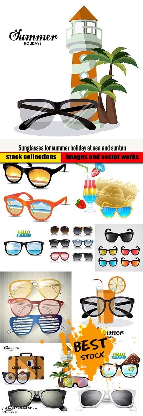 Sunglasses for summer holiday at sea and suntan