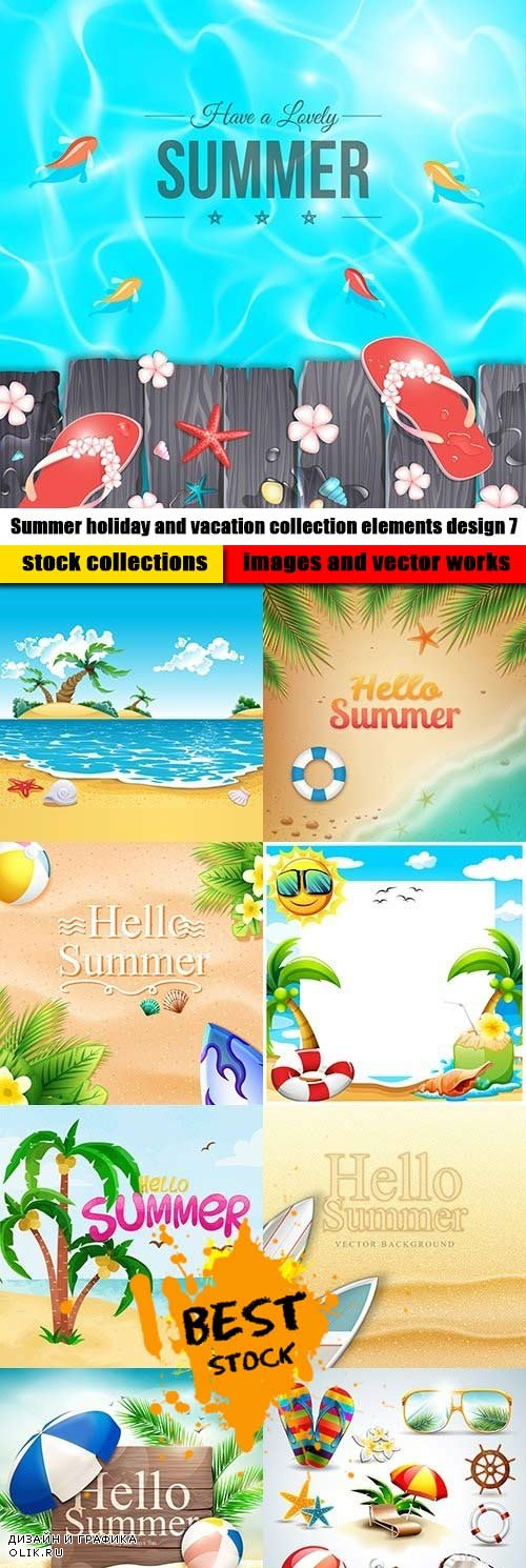 Summer holiday and vacation collection elements design 7