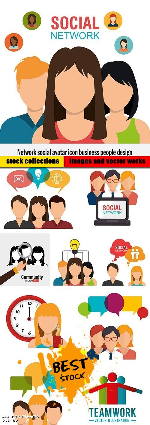 Network social avatar icon business people design
