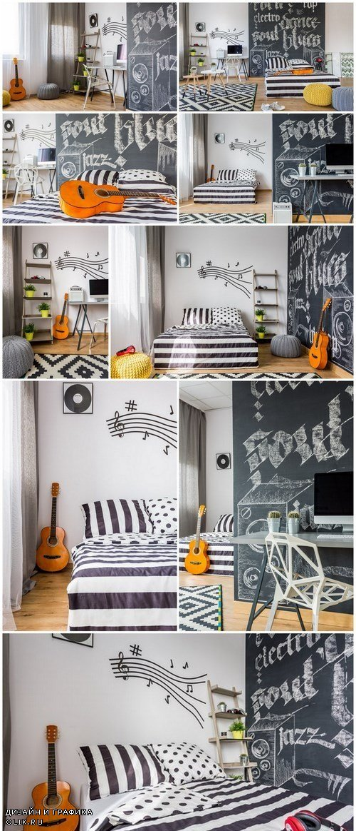 Bedroom decorated with music-related items - 9xUHQ JPEG Photo Stock