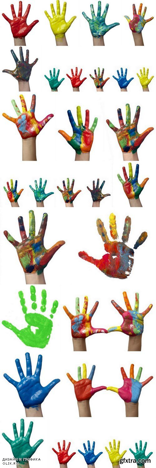 Children's hands in colored paint - 18xUHQ JPEG Photo Stock