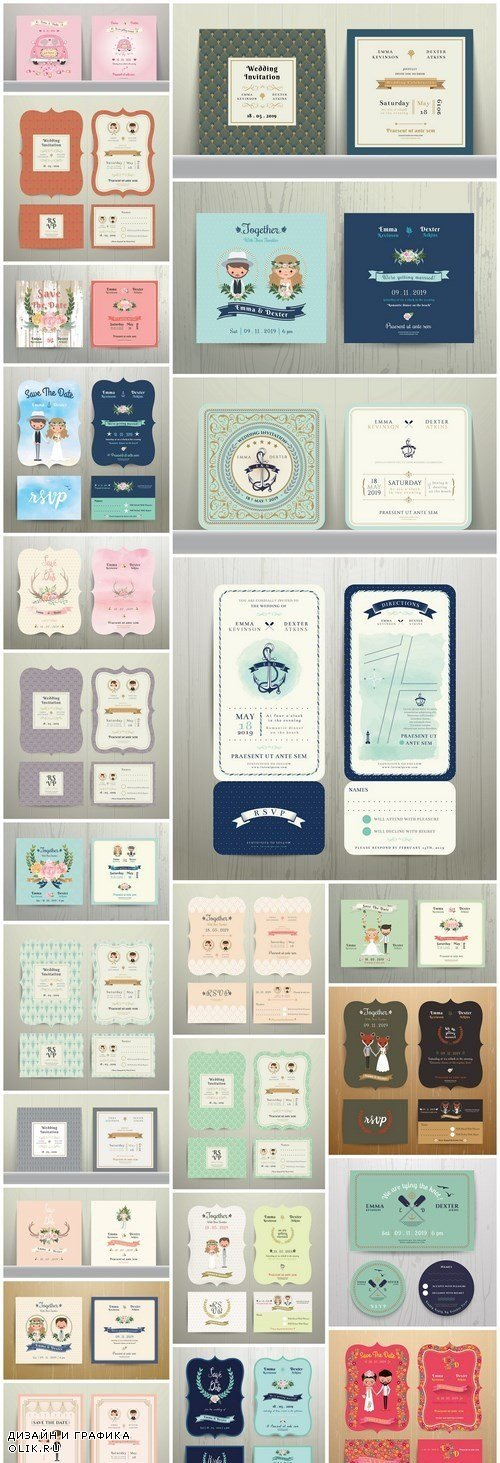 Decotative Invitation Card Collection - 25 Vector