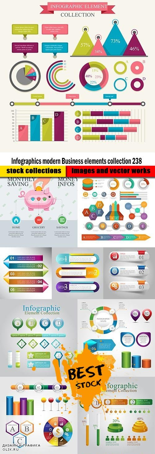 Infographics modern Business elements collection 238