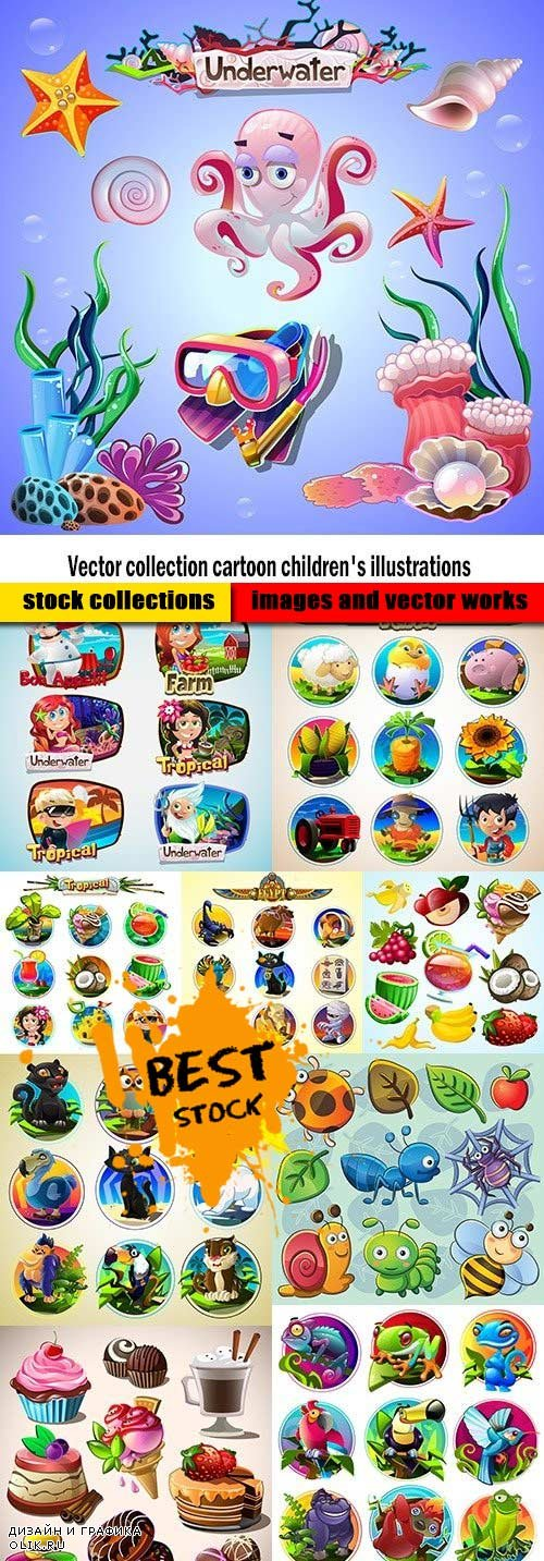 Vector collection cartoon children's illustrations