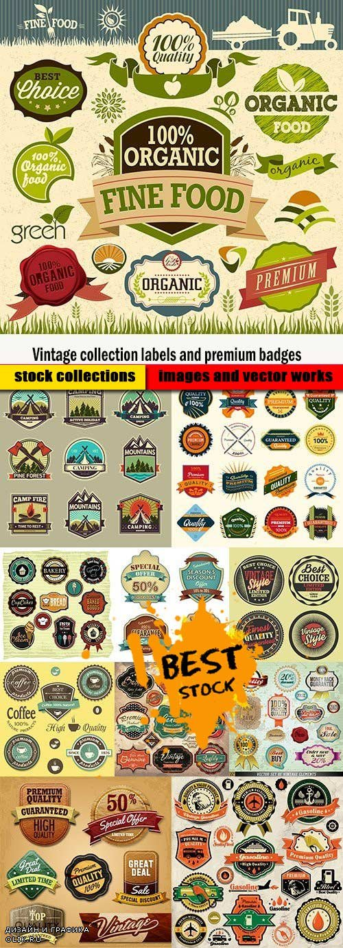 Vintage collection labels and premium badges