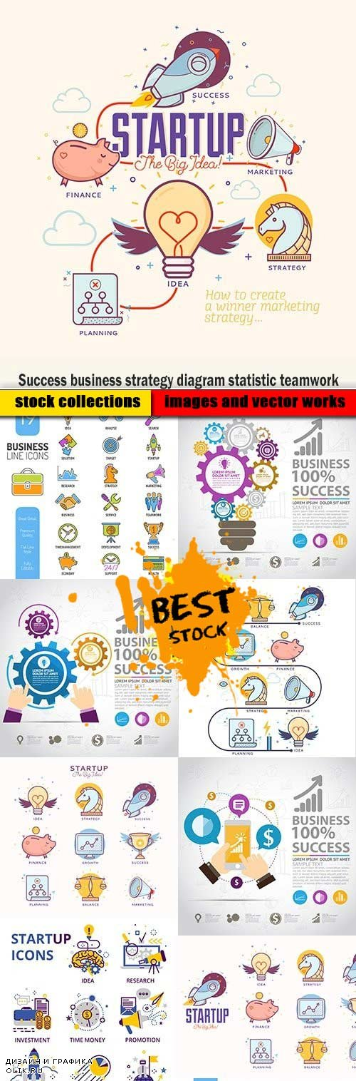 Success business strategy diagram statistic teamwork
