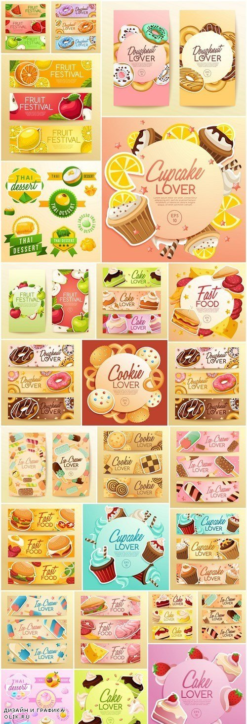 Ice Cream Cake Donuts Banners - 25 Vector