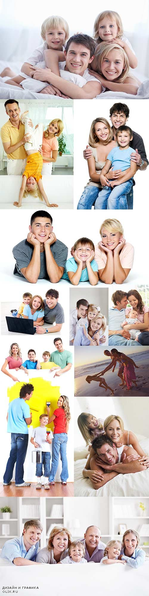 Young happy family of raster graphics - 2