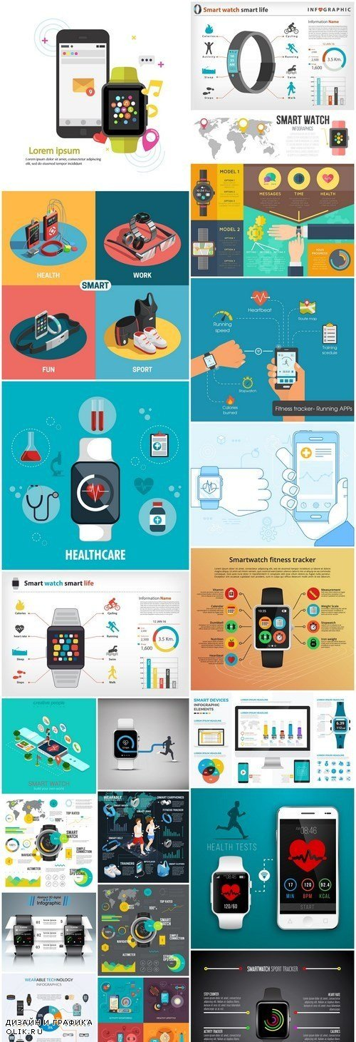 Smart Watch Fitness Tracker Infographic - 20 Vector