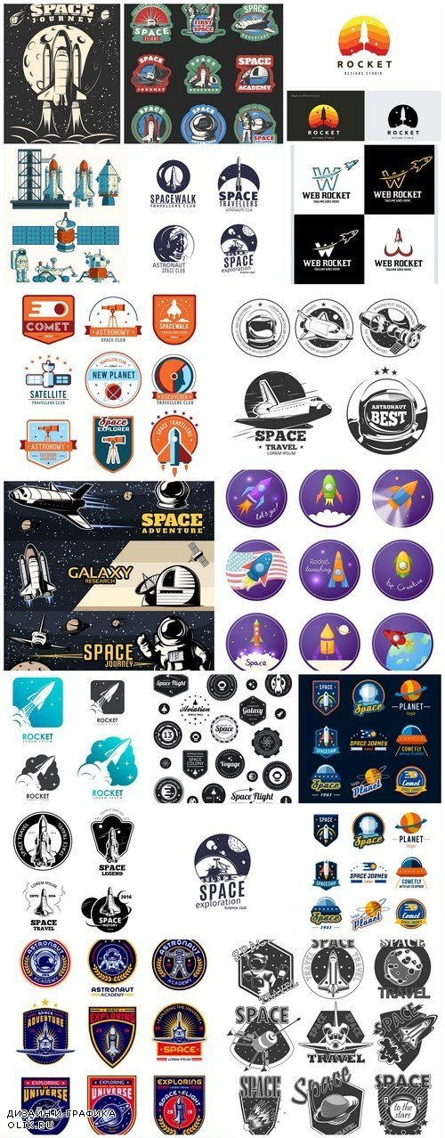 Space Label Logo Collection - 20 Vector