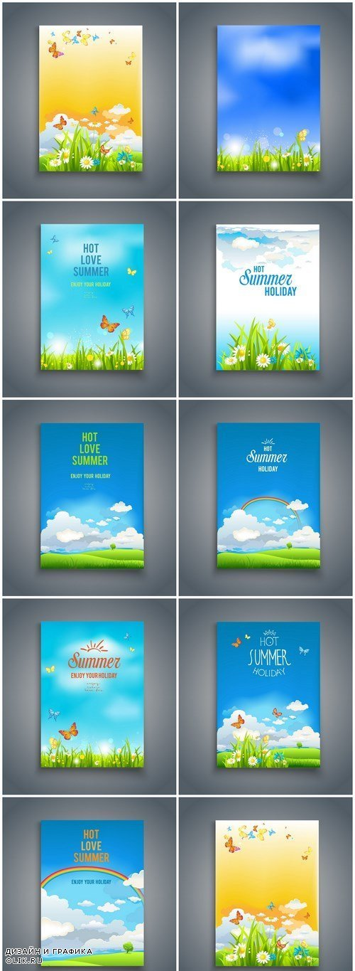 Spring Summer Nature Template Card - 9 Vector