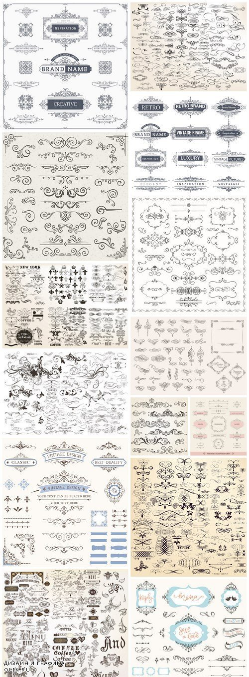 Vintage Calligraphy Elements #2 - 15 Vector