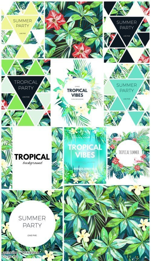 Bright wallpapers hawaiian design with tropical plants 12x JPEG