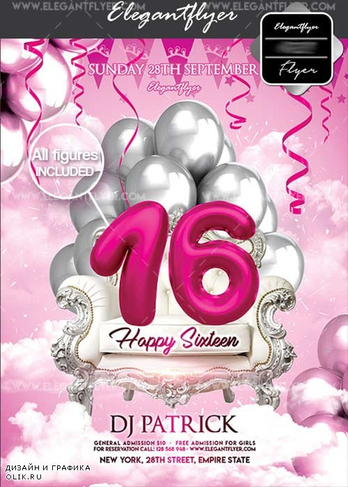 Happy Sixteen V15 Flyer PSD Template + Facebook Cover