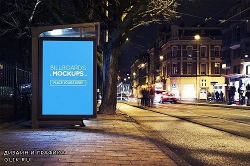 Billborad Mockup at Night #84 - 1738722