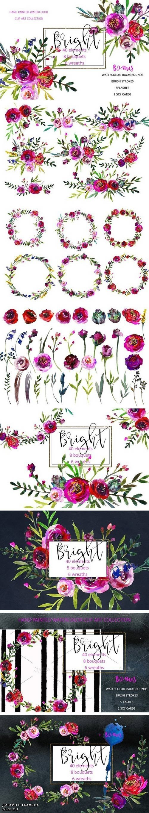 Bright Purple Watercolor Flowers 897992