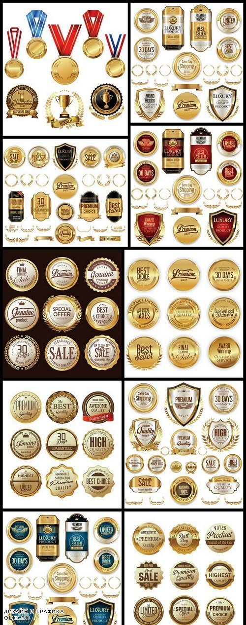 Golden Badges And Labels - 10 Vector