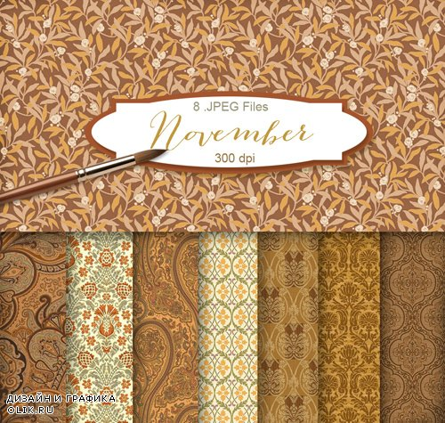 Ornamental Background Textures - Autumn November