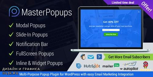 CodeCanyon - Master Popups v1.3.0 - WordPress Popup Plugin for Email Subscription - 20142807
