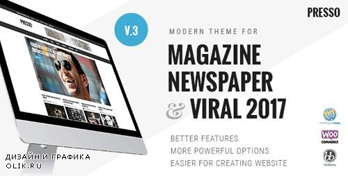 ThemeForest - PRESSO v3.3.0 - Modern Magazine / Newspaper / Viral Theme - 6335504