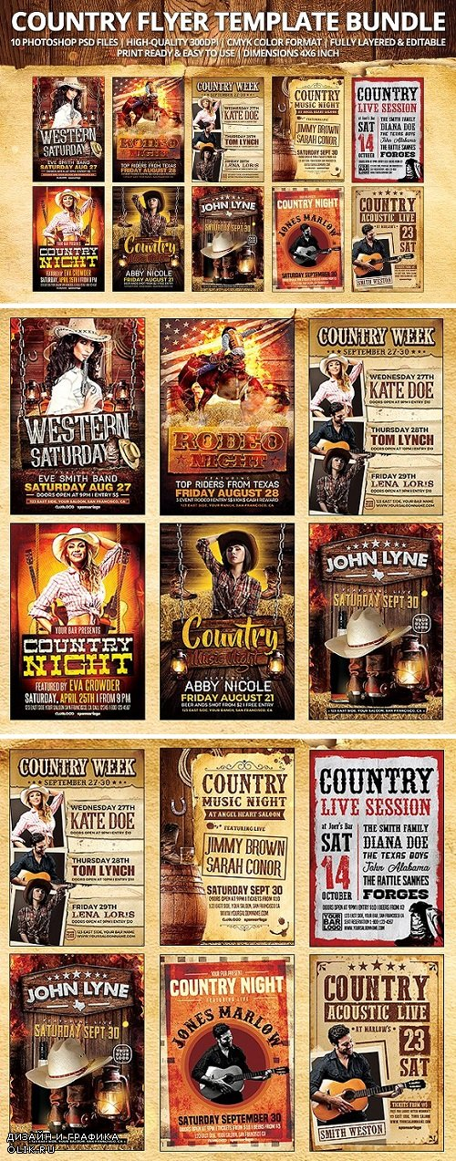 Country Flyer Template Bundle 1926936