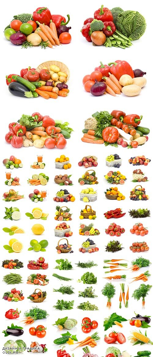 Vegetables & Fruits on White Background 25xJPG