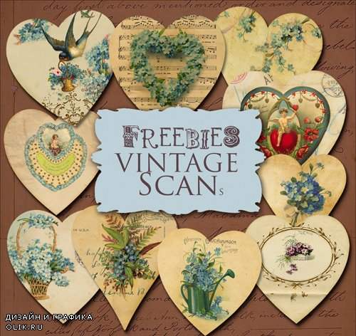Scrap Kit - Vintage Paper Hearts for Valentine's Day