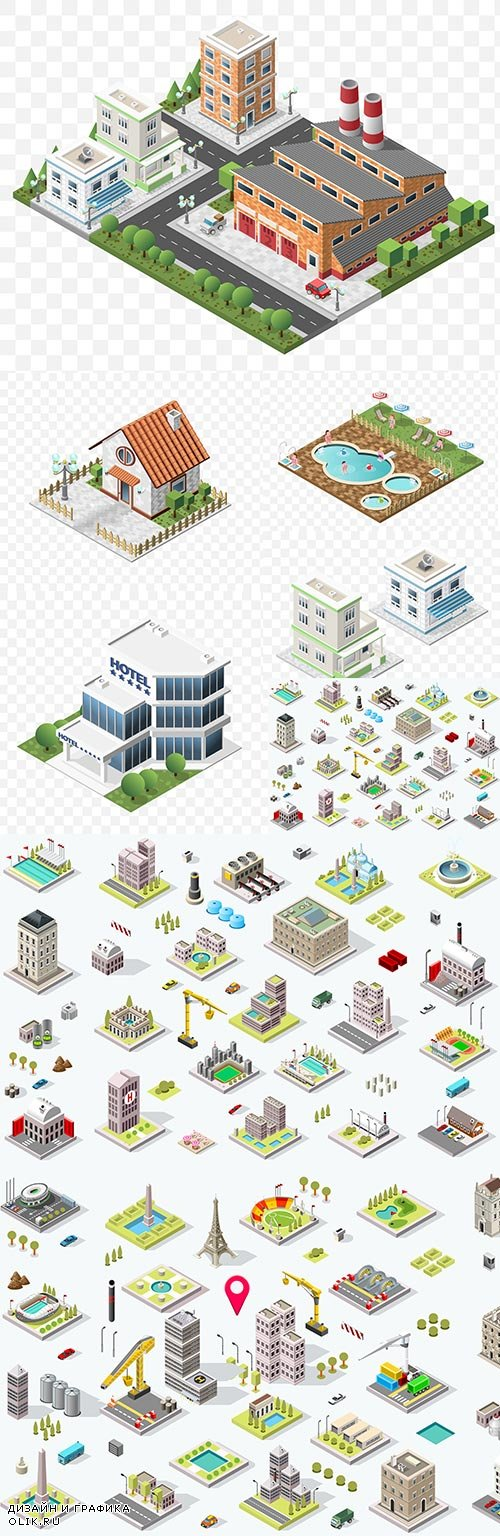 City building 3d isometric modern house illustration