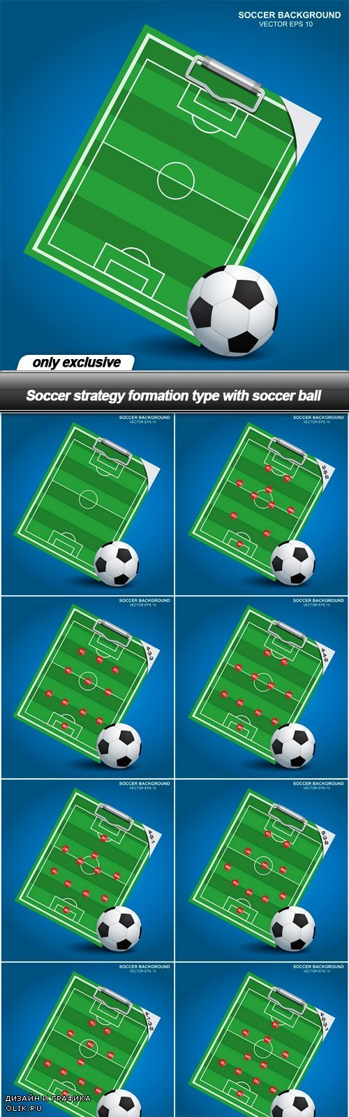 Soccer strategy formation type with soccer ball - 8 EPS