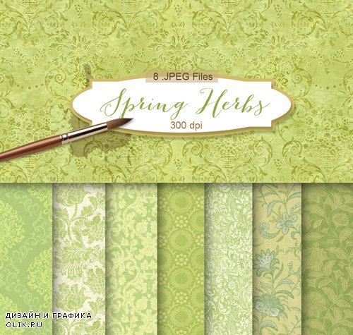 Background Textures with Floral Ornament - Spring Herbs