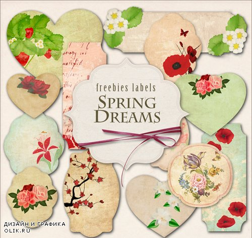 Flower Labels on Transparent Background - Spring Dreams
