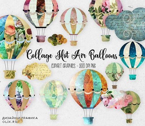 Collage Hot Air Balloon Clipart - 270855