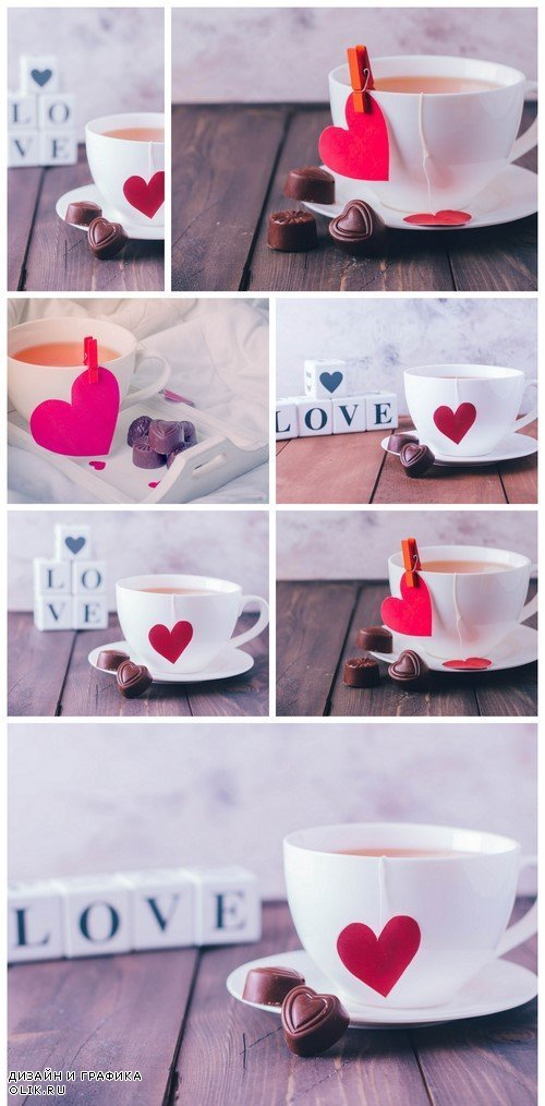 Cup of tea and chocolate candies in shape hearts 7X JPEG