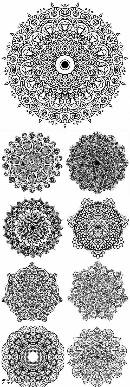 Mandala decorative drawn geometrical ornament 7