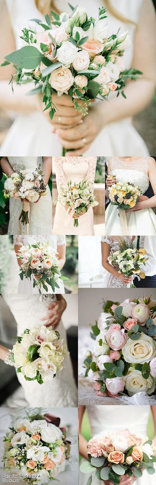 Wedding gentle bouquet from bride's roses in hands