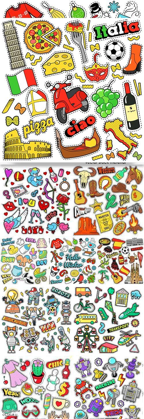 Cartoon illustration comic sticker design collection
