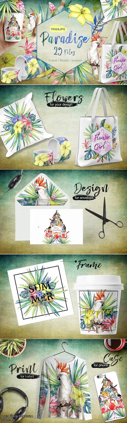 Tropical PNG watercolor flower set 2027049