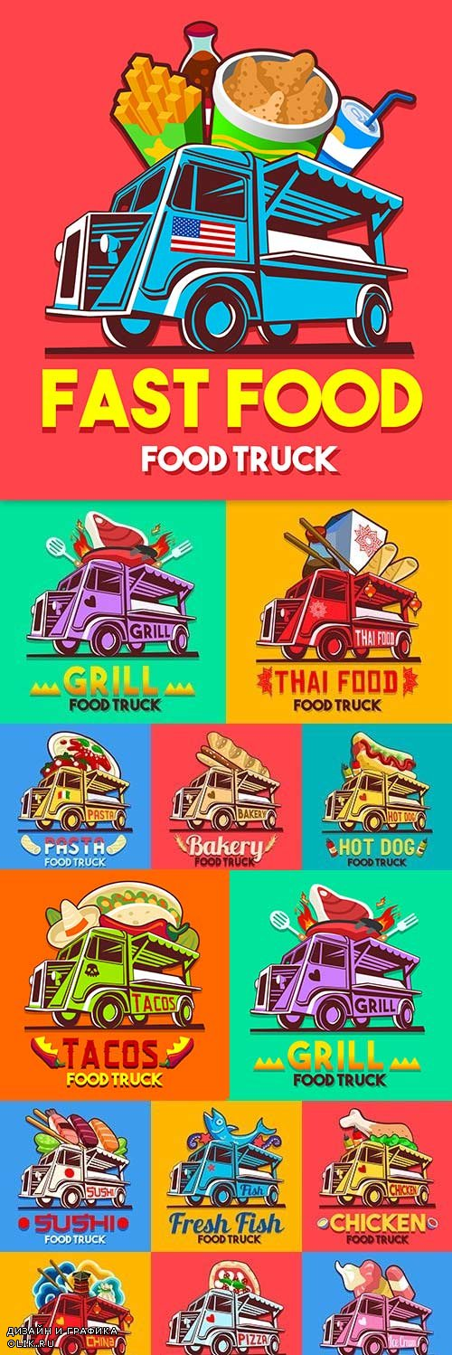 Delivery food modern truck with products label design