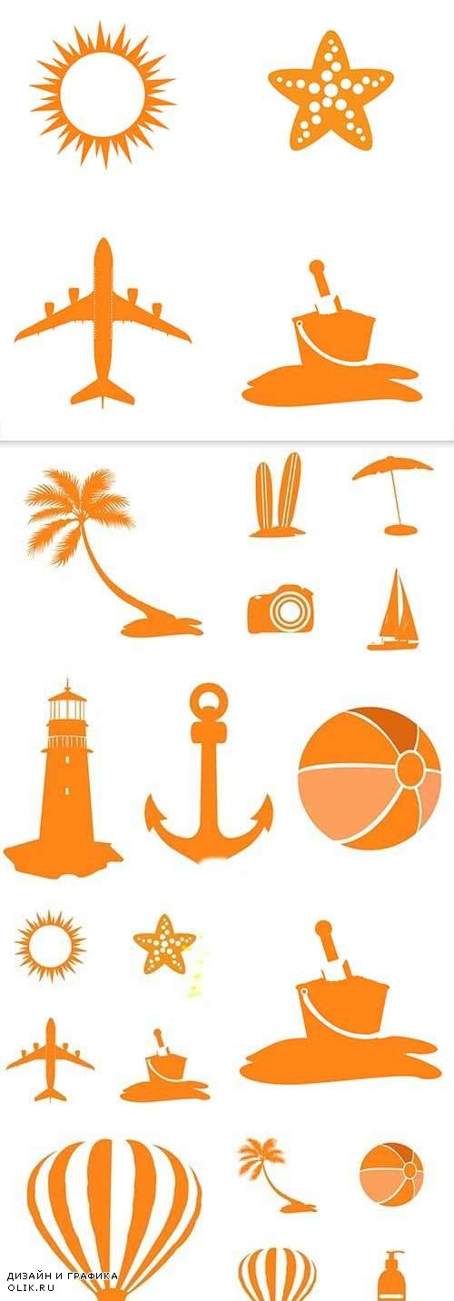 Summer travel and rest silhouettes design symbols