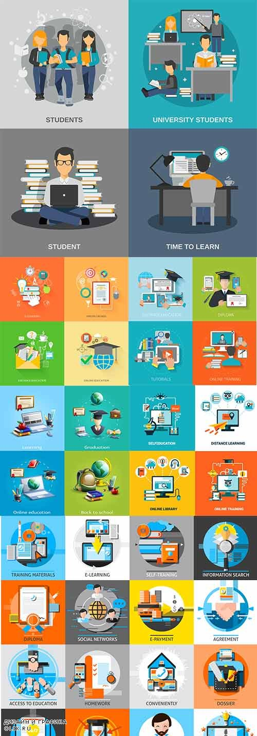 Education Internet training program online flat design