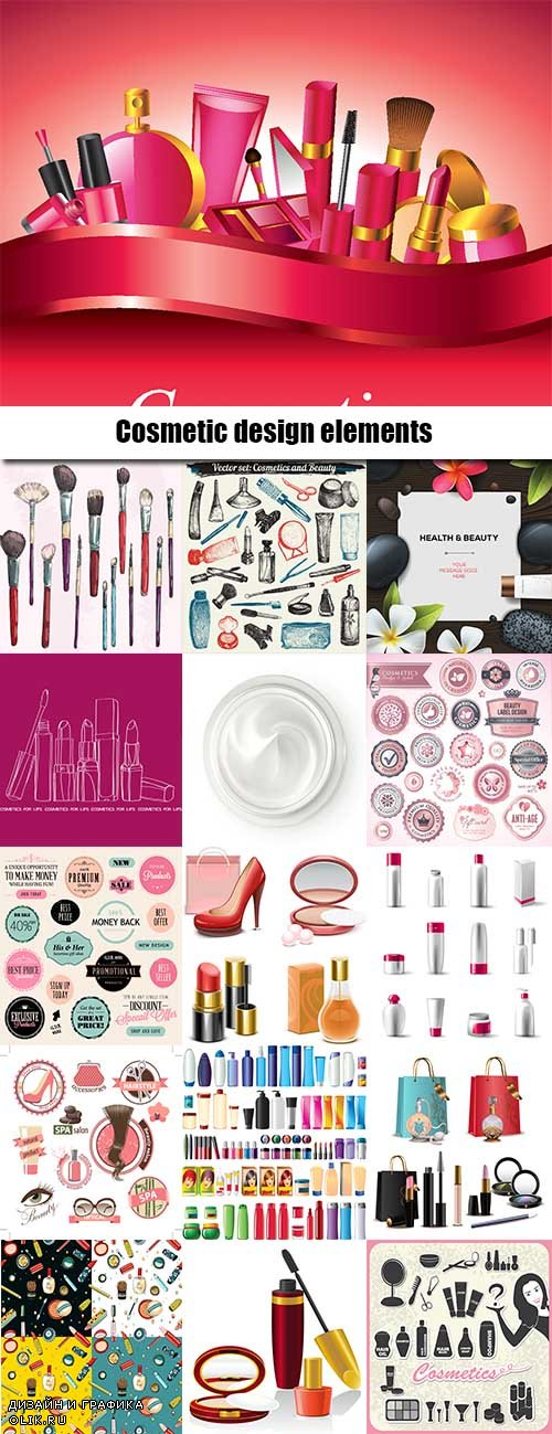 Cosmetic design elements in vector from stock - 25 Eps