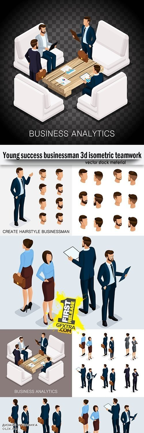 Young success businessman 3d isometric teamwork